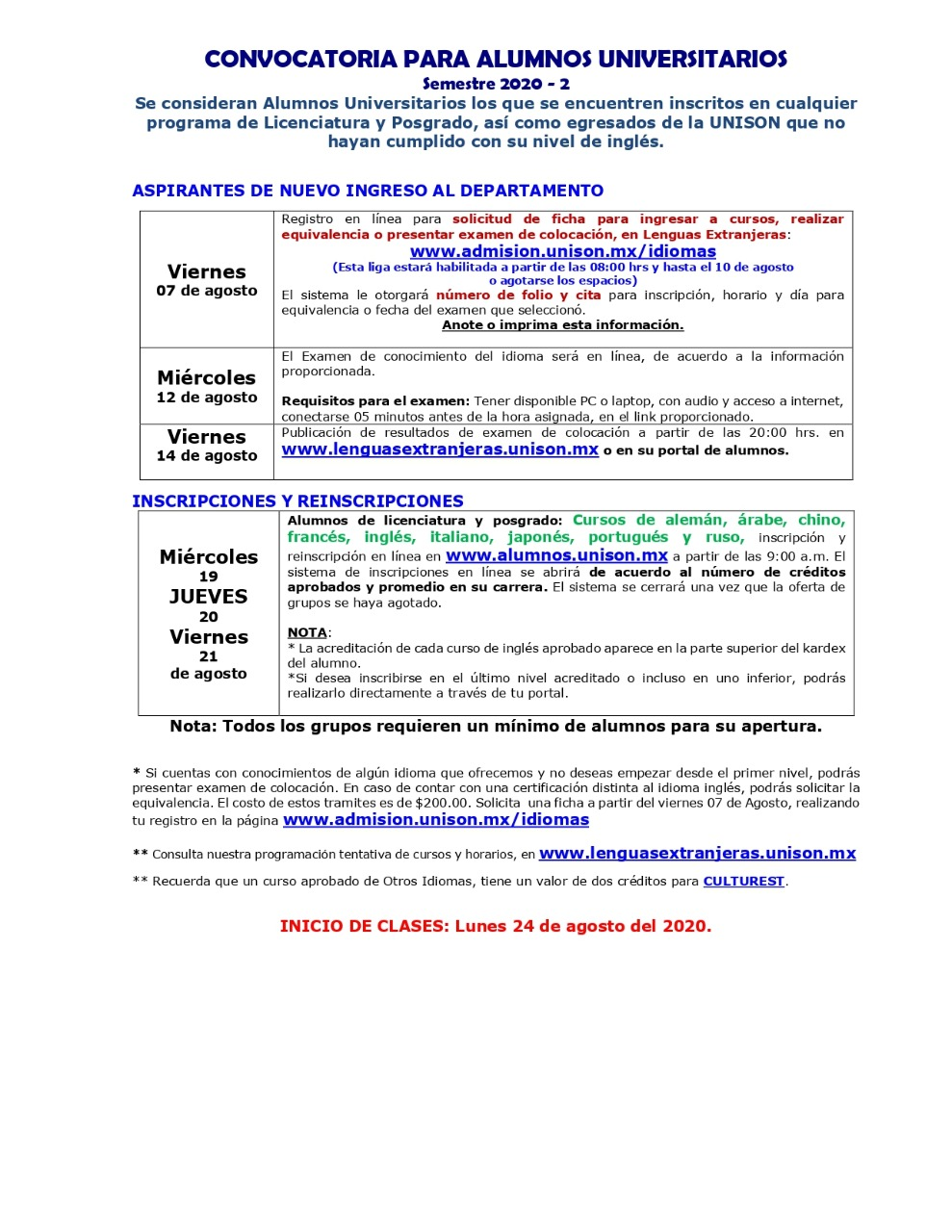Inscripciones 2020-2 Universitarios