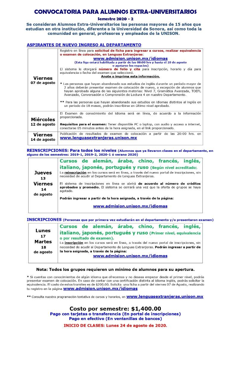 Inscripciones 2020-2 Extra-Universitarios